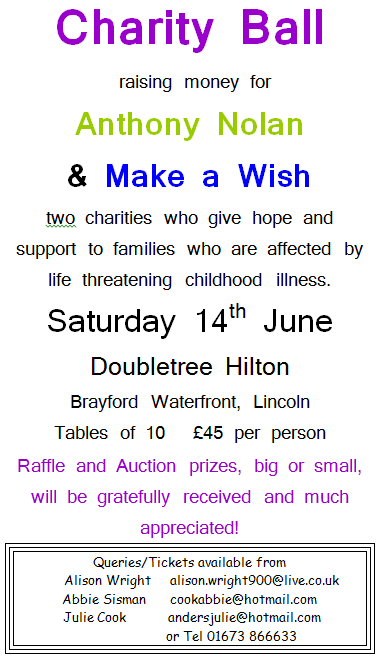Charity Ball Saturday the 14th of June 2014