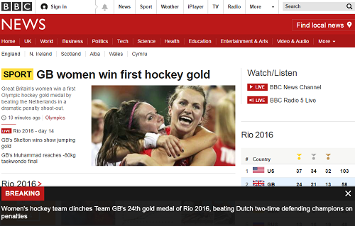 BBC News Website: Olympics 2016